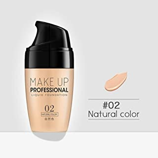 Flawless Liquid Foundation Oil-free Poreless Profeesional Makeup Pure Serum Foundation Silky Smooth Moisturzing Anti-Aging 1.1 fl.oz 30ml (Natural Color)