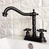 Fregadero de recipiente de baño de cocina de latón de 4 pulgadas con aceite negro, grifo giratorio de lavabo de dos orificios, grifo de agua de dos manijas