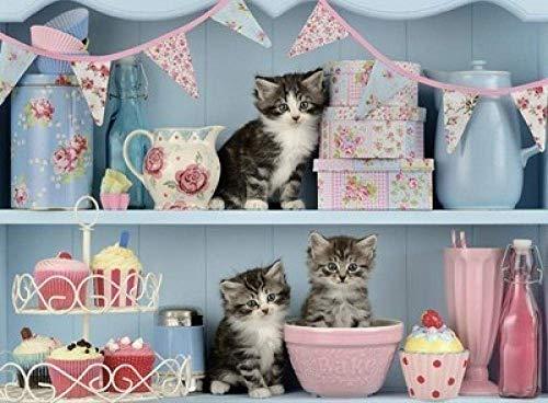 Puzzels 1000 stukjes, Hoge moeilijkheidsgraad Game Gift Educatief speelgoed - Kitten In the Cup Decompression Games Landscape Jigsaws
