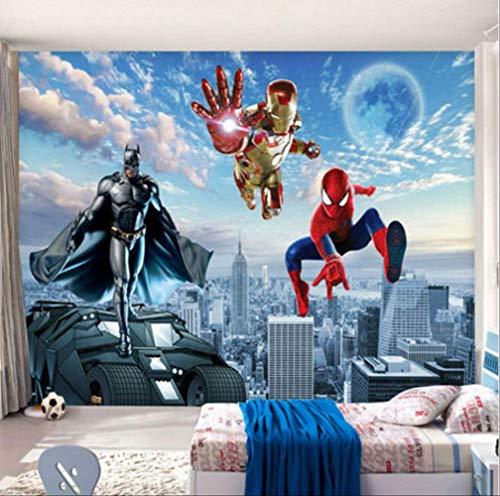 FANGXUEPING Benutzerdefinierte 3D-Foto-tapete Batman Iron Man Wallpaper Spider Man Wand Wand Malerei Jungen Schlafzimmer Wohnzimmer Tv-kulisse Wand Zimmer Dekor Breite 250cm * Höhe175cm pro