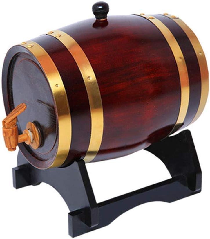 GAXQFEI Barril 3L de Roble, Roble Alenamiento Barril Liner de Aluminio Incorporado para Alenar Su Propio Whi, Cerveza, Vino, Bourbon, Brandy, Salsa Picante Más, Marrón,Marrón