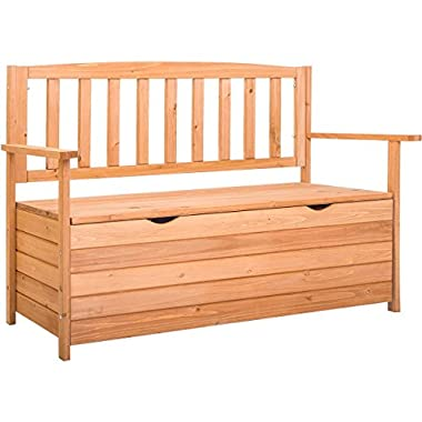 Leisure Zone Outdoor Patio Storage Bench with Fir Wood (44.5 Inch)