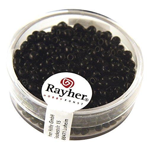 Rayher 1405601 Rocailles, 2,6 mm ø, opak, schwarz