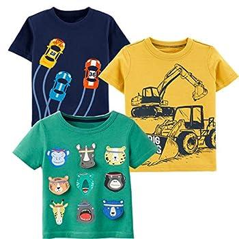 Boy Tee 3-Pack Yellow Navvy Blue Car Green Cartoon Appliques Short Sleeve Crewneck T-Shirts Top Size 6