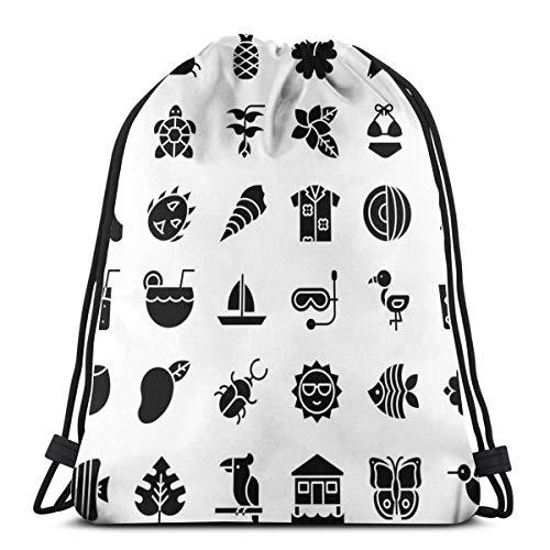 Zhark Tropical Related Icon Set de estilo sólido con cordón bolsa de gimnasio, mochila deportiva, bolsa de hombro, mochila de viaje al aire libre, mochila escolar para mujeres y hombres