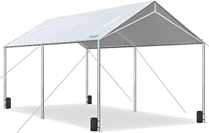Amazon Com Quictent 10x20ft Upgraded Heavy Duty Car Canopy Galvanized Frame Carport Outdoor Boat Shelter With 3 Reinforced Steel Cables Garden Outdoor