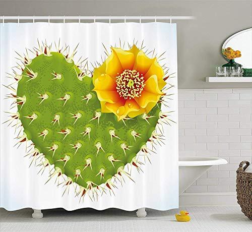 remmber me Cactus Decor Thorny Cactus in Form von Herzen & gelbe Blume Opuntia Spikes grün gelb orange Duschvorhang wasserdicht Badezimmer Dekor Polyester Stoff Vorhang Sets mit Haken 60 x 72 Zoll