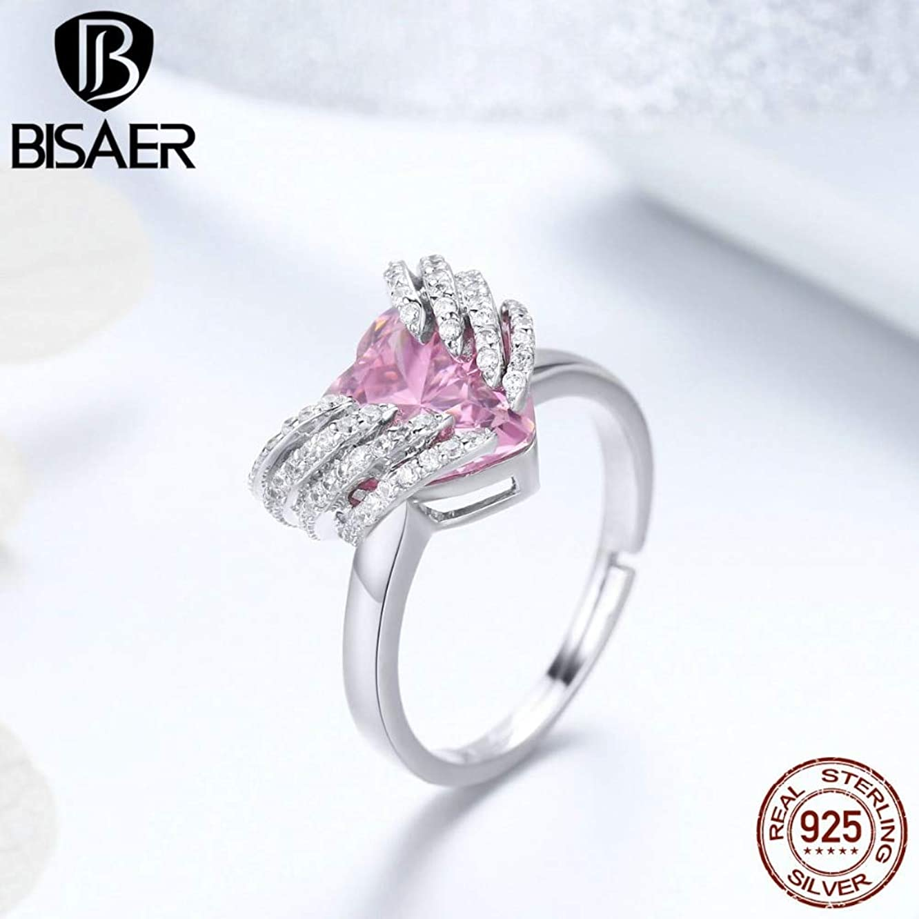 New Rings | 925 Sterling Silver Pink Crystal Heart Stone Free Size Finger Rings | for Women | Luxury Jewelry