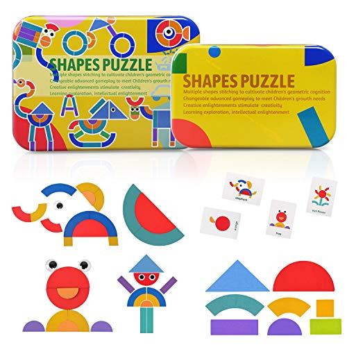 BelleStyle Holzpuzzle für Kinder, Holzmuster Blöcke Montessori Spielzeug Sortier und Stapelspiele Lernspielzeug Vorschule Geschenk für Jungen Mädchen ab 3 Jahren, 36 Formteile und 50 Musterkarten