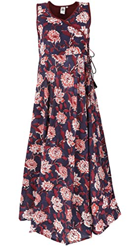 GURU SHOP Maxikleid, Sommerkleid, Damen, Rot/Taupe, Baumwolle, Size:S (36), Lange & Midi-Kleider Alternative Bekleidung