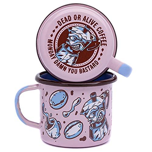 DEAD OR ALIVE Emaille Tasse 350 ml ⎮ unzerbrechlicher Emaille Becher ⎮ hochwertiger Kaffeebecher für Kaffeeliebhaber ⎮ Kaffeetasse (Pink)