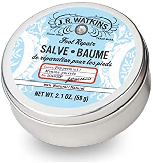 JR Watkins Foot Repair Salve, Single, Peppermint Foot Cream for Cracked Heels, Dry Skin, and Soft Happy Feet, USA Made and Cruelty Free, 2.1oz Tin