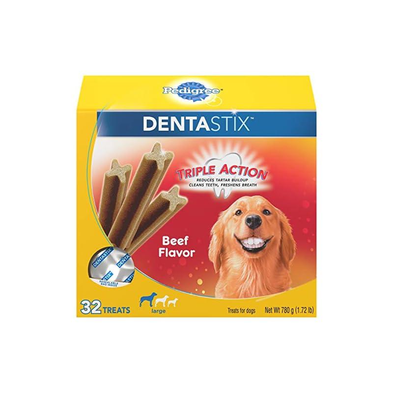 dog supplies online pedigree dentastix large dog dental treats beef flavor dental bones, 1.72 lb. pack (32 treats)