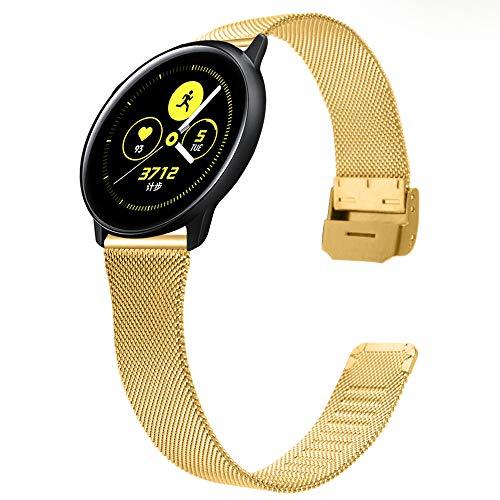 TRISTRAPS 20mm Correa de Repuesto de Acero Inoxidable de Malla Tejida de para Mujer,Compatible con Huawei Watch/Samsung Galaxy Watch 42mm/Samsung Gear S2 Classic Correa de Reloj (20mm, Oro)