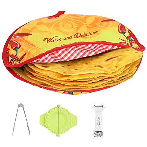 Zdada 12inch Microwaveable Tortilla-Warmer-Pouch,Insulated Oversize Fiesta Food Warmer with 1pc Bread Clip,1pc Melon Planing,1pc Dumpling Artifact as Gift