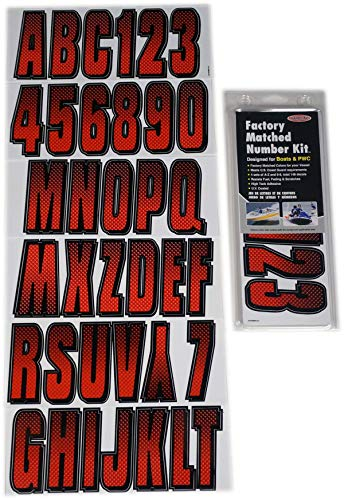 Hardline Products REBKG300 Series 300 Factory Matched 3-Inch Boat & PWC Registration Number Kit, Red/Black
