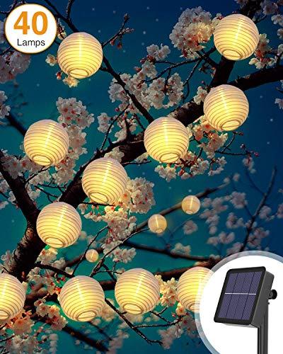 Solar Lichterkette Aussen, Litogo 6M 40 LED Lampion Lichterkette Außen 8 Modus Laterne Lichterkette Outdoor IP65 Wasserdicht Solarlichterkette Deko für Garten, Balkon, Terrasse, Hof, Party- Warmweiß