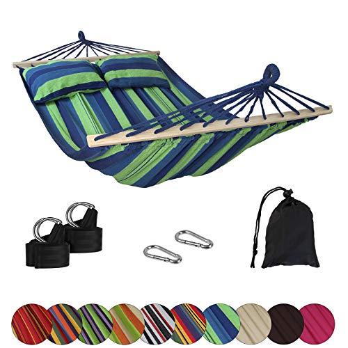 BB Sport Stabhängematte CIBAO inkl. 2 Kissen Liegefläche 240 x 150 cm in vielen Farben Traglast 300 kg für 2 Personen, Farbe:Mauritius