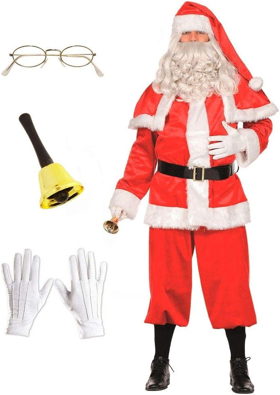 Shoperama Herren-Kostüm Weihnachtsmann 7-teilig Glocke Brille Handschuhe Santa Claus Nikolaus, Größe 60 B07KNXYCGK Hervorragende Eigenschaften  | Ausgang