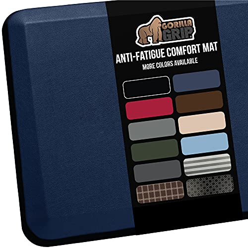Gorilla Grip Anti Fatigue Cushioned Comfort Mat, Ergonomically Durable, Supportive, Padded, Thick and Washable, Stain-Resistant, Kitchen, Garage, Office Standing Desk Mats, 32x20, Navy Blue