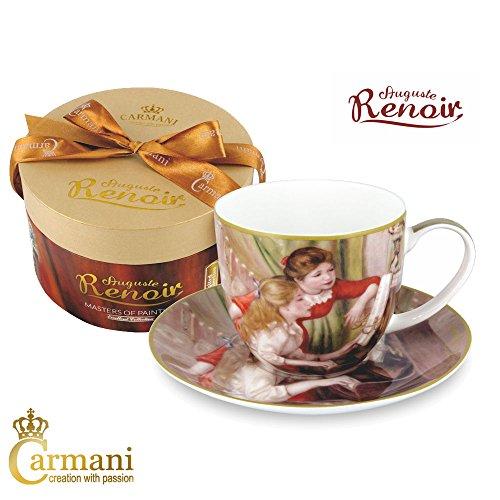 Carmani - Porcellana Tazza e piattino impostate con Renoir - Due Ragazze al pianoforte pittura 280 ml