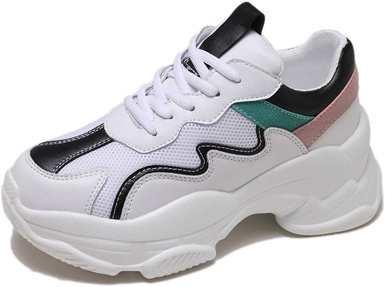 Btrada Spring Female Fashion White Platform Wedges Sneakers Women Casual Thick Soled Chunky Sneakers