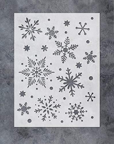 GSS Designs - Stencil di arte fiocchi di neve(30x40 cm) - Decorazione natalizia Fiocchi di neve modello di pittura per mobili, parete, finestra, tessuto, legno (SL-072)