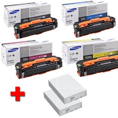 Samsung CLX 4195 FW original Tonerkit CLT - K504S / ELS (schwarz) / CLT - C504S / ELS (Cyan) / CLT - M504S / ELS (Magenta) / CLT - Y504S / ELS (gelb) + 2 x 500 Blatt DIN A4 Laserpapier 80g/m²