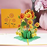 Pop Up Flower Card, 3D Sunflower Pop Up Greeting Cards, for Mother's Day, Spring, Father's Day, Graduation, Birthday, Wedding, Anniversary, Thank You, Get Well, Sympathy, All Occasion