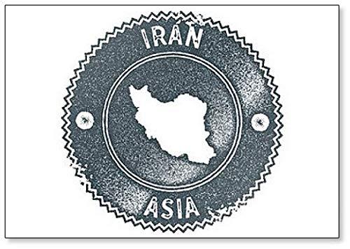 Iran kaart Vintage stempel. Donkerblauwe Illustratie Koelkast Magneet