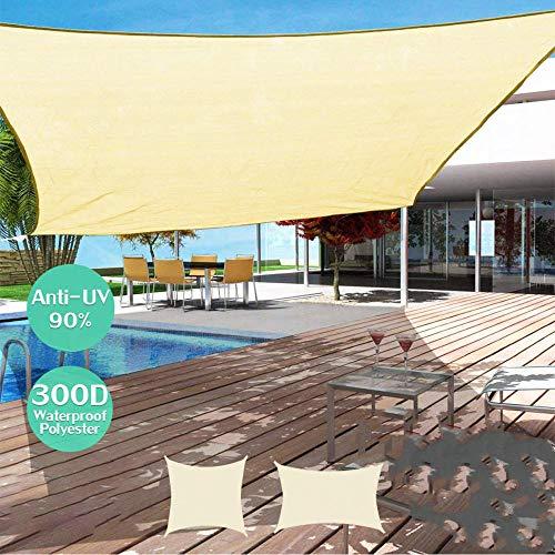 A Prueba de Agua Refugio para el Sol Sombrilla Toldo de Vela para el Sol al Aire Libre Jardín Patio Piscina Sombra Vela Toldo Paño de Sombra para Acampar Rectángulo Grande_2x4