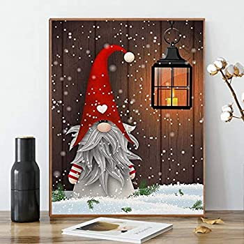 ACENGXI Christmas Paint by Numbers Christmas DIY Paint by Numbers Santa Claus DIY Canvas Paint by Numbers Christmas Hat Acrylic Painting Home Decor Paint by Numbers Snowman for Adults Kids 16x20 Inch