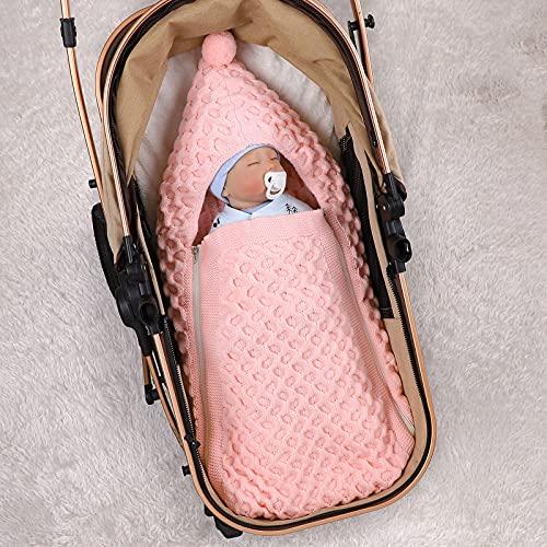 Ruiqas Manta de Bebé Recién Nacido Manta de Recepción de Punto Cochecito Envolver Saco de Dormir Infantil con Capucha Saco de Invierno Cálido