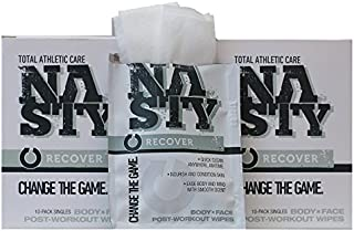 """NASTY Body Wipes for Men, Women, & Teens, After Workout Cleansing Wipes, Extra Large(10""""x12""""), Individually Wrapped (20 Co..."""