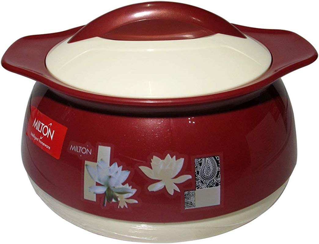 Milton Delish 1000 ML Exclusive Design Hot Pot Food Warmer Insulated Casserole Brown Casserole With White Lid
