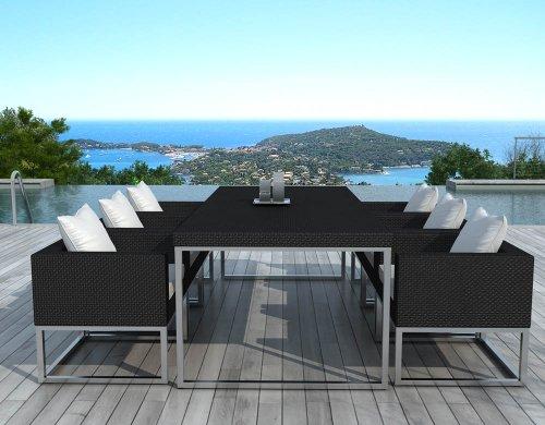 Table Angel et 6 fauteuils résine tressée noire