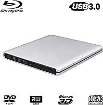 USB 3.0 External Blu-ray DVD Drive,MthsTec Ultra Slim External Blu-Ray DVD/CD Burner 3D Blu-Ray DVD Writer Portable Blu Ray Optical Drive Support for Laptop, Desktops, MacBook(Silver)