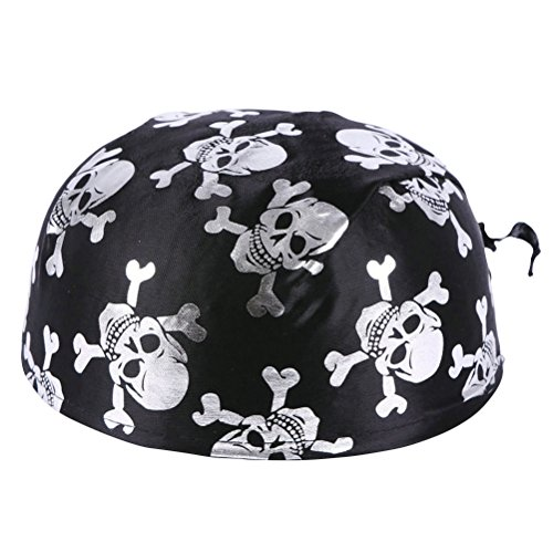 Amosfun Spaß Piratenkostüm Kolonial Hüte Skelett Muster Piraten Zubehör für Halloween Oder Jede Partei Halloween Kostüme (Silber)