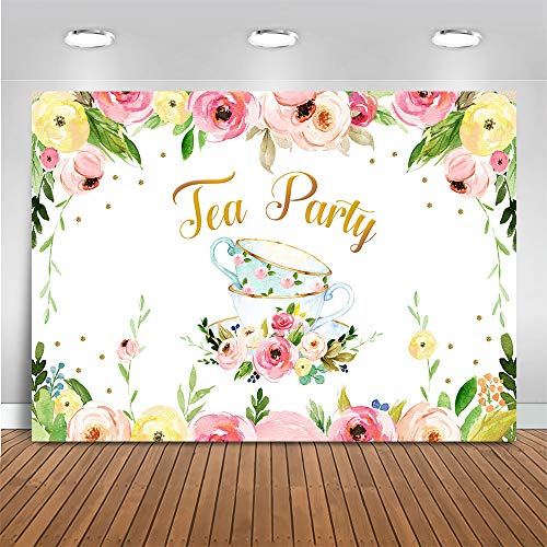 Mocsicka Tea Party Backdrop Let's Partea Flower Photography Background Baby Shower Birthday Party Decor Banner for Girl (7x5ft (82x60 inch))