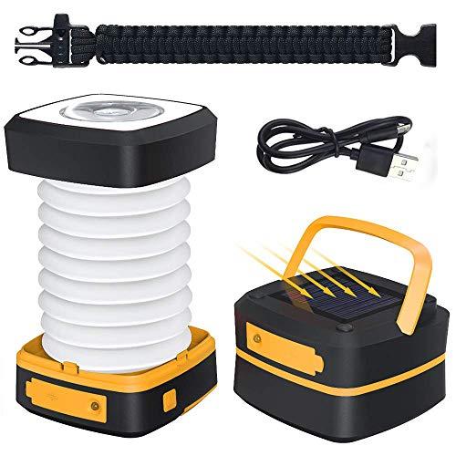 LED Campinglampe-GlobaLink Solar Faltbare Campingleuchte Tragbare Energienbank mit 2 Lademethoden (Solar/USB) und 3 Lichtmodi für Camping, Angeln, Notfall -inkl. Survival Armband mit Pfeife - Gelb