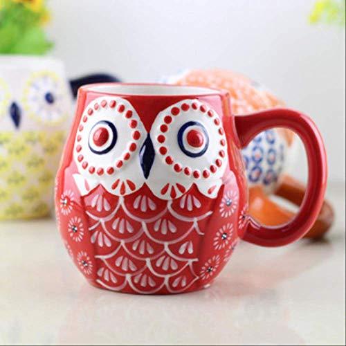 HYOUH Taza de café Taza de Cacao Kawaii Cartoon Owl Tazas de café Tazas de cerámica Taza de Leche Taza de té Termo Botella de Agua Handpaint Desayuno Drinkware Kids Gifts 101-200ml B