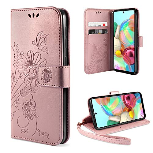 ivencase für Samsung Galaxy A71 Hülle Flip Lederhülle, Samsung Galaxy A71 Handyhülle Book PU Leder Tasche Hülle mit Kartenfach & Magnet Kartenfach Schutzhülle für Samsung Galaxy A71 - Pink Gold