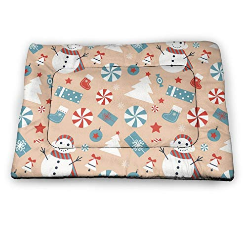 Arehji Christmas pattern with snowman Non Slip Pet Bed Mat Washable Dog Mattress Pad Cat Blanket Cushion 21' x14