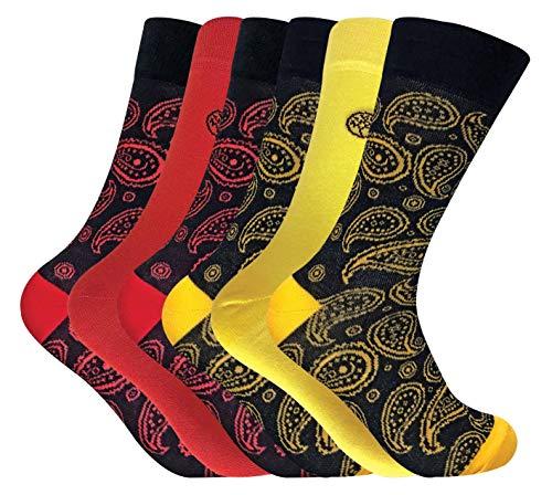 sock snob - 6er Pack Herren Atmungsaktiv Bunt Gemustert Muster Bambus Socken (Paisley Red/Yellow, 39/45)
