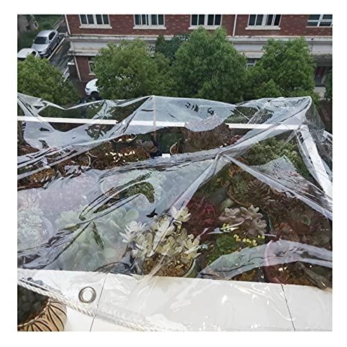 HIYOUGO Lona transparente, cubierta impermeable de plástico PVC con ojales, cubierta de protección contra la lluvia a prueba de polvo y antienvejecimiento (color: transparente, tamaño: 1,8 x 1,8 m)