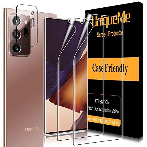 UniqueMe [2 Pack] TPU Protector de Pantalla y [1 Pack] Protector de Lente de cámara de Vidrio Templado para Samsung Galaxy Note 20 Ultra (6.9 Pulgada) 4G / 5G
