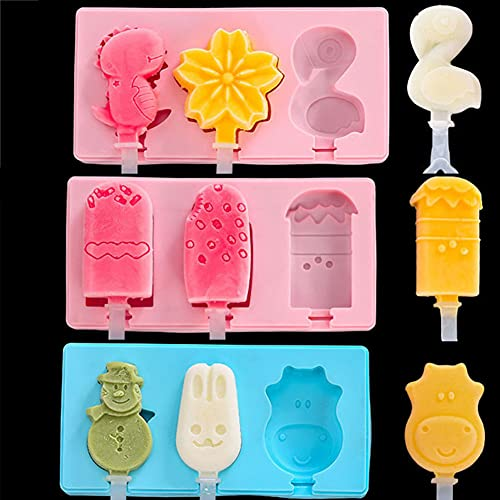 3PC-Flamingo& Snowman& IceCream Silicone Popsicle Molds Cake,Ice Pop Molds Homemade Ice Cream Mold Reusable Soft Silicone,Cakesicle Mold for DIY Ice Pops
