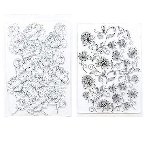 Welcome to Joyful Home 2pc/Set Different Flower Background Clear Stamp for Card Making Decoration and Scrapbooking 11x16cm