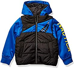 top 10 nautica boys coat Nautica Big Boy Hybrid Fleece Quilted Jacket Outerwear, Black, M10 / 12