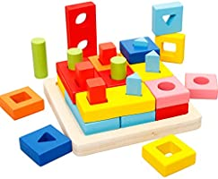 Agirlgle Wooden Educational Learning Toys Shape Color Sorter Recognition Geometric Board Block Puzzles Toys Preschool...